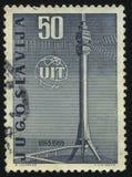 ITU旗子和电视塔 免版税库存照片