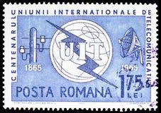 Itu-emblem, telegraf Pole & antenn, serie, circa 1965 royaltyfria bilder