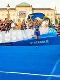 ITU światu Triathlon Sztokholm, Lisa - Nordén przy finishline - Zdjęcia Stock