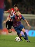 Iturraspe (L) vies con Iniesta (R) di Barcellona fotografia stock