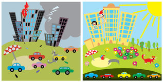 ?ity bad and good home city. ?ity bad and good home caricature royalty free illustration