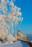 Сity embankment in the freezing sunny day Stock Photography