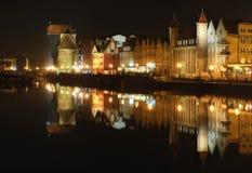 Ityscape på Vistulaet River i historisk stad av Gdansk Arkivfoton