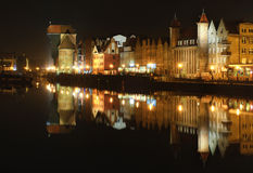 Ityscape on the Vistula River in historic city of Gdansk Stock Photos