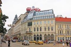 Itzar Osvoboditel boulevard, city center of Sofia, Bulgaria. Royalty Free Stock Photo