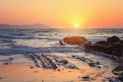 Itzurun beach, flysch of Zumaia on the coast Gipuzkoa, Spain Stock Image