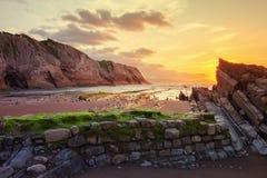 Itzurun beach, flysch of Zumaia on the coast Gipuzkoa, Spain Royalty Free Stock Photo