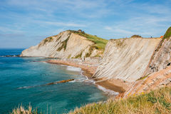 Itzurun Beach and flysch in Zumaia, Spain Stock Image