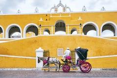 IUCATÃO, MÉXICO - 31 DE MAIO DE 2015: Transporte do cavalo na cidade amarela de Izamal imagem de stock