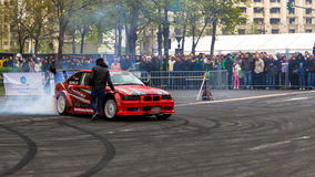 Iulian Jumuga (Jumy). At AutoMotoShow 2014 with BMW E36 V8 royalty free stock images