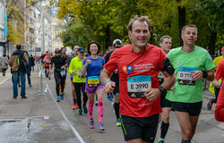 2016 09 25: IV de Marathon van Moskou 24-ste km van de marathonroute Royalty-vrije Stock Foto
