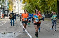 2016 09 25: IV de Marathon van Moskou 24-ste km van de marathonroute Stock Foto
