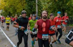 2016 09 25: IV de Marathon van Moskou 24-ste km van de marathonroute Royalty-vrije Stock Afbeeldingen
