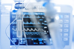 Iv drip on the background of monitoring ECG Royalty Free Stock Photo