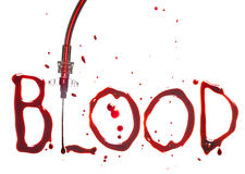 IV drip and blood. IV drip with the word BLOOD in bloody dripping letters Royalty Free Stock Photos