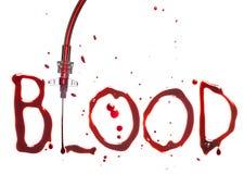IV druppel en bloed Royalty-vrije Stock Foto's