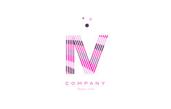 iv i v alphabet letter logo pink purple line icon template vecto Royalty Free Stock Image