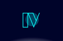 iv i v blue line circle alphabet letter logo icon template vecto Royalty Free Stock Photo