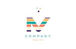 iv i v line stripes pastel color alphabet letter logo icon templ Stock Photo