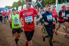2016 09 25: IV maratón de Moscú El comienzo de los 42 0,85 kilómetros Foto de archivo libre de regalías