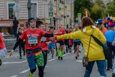 2016 09 25 : IV marathon de Moscou 24ème kilomètre de l'itinéraire de marathon Photographie stock libre de droits