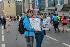 2016 09 25 : IV marathon de Moscou 24ème kilomètre de l'itinéraire de marathon Photos stock