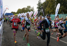 2016 09 25: IV maratona di Mosca L'inizio dei 42 0,85 chilometri Fotografia Stock