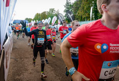 2016 09 25: IV maratona di Mosca L'inizio dei 42 0,85 chilometri Fotografie Stock Libere da Diritti