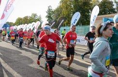 2016 09 25: IV maratona di Mosca L'inizio dei 42 0,85 chilometri Immagini Stock Libere da Diritti
