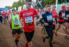 2016.09.25: IV Moscow Marathon. The start of the 42.2 km. IV Moscow Marathon. The start of the 42.2 km With the support of the Moscow Government and the Royalty Free Stock Photo