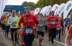 2016.09.25: IV Moscow Marathon. The start of the 42.2 km. IV Moscow Marathon. The start of the 42.2 km With the support of the Moscow Government and the Royalty Free Stock Image