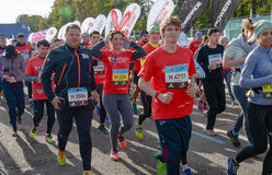 2016.09.25: IV Moscow Marathon. The start of the 42.2 km. IV Moscow Marathon. The start of the 42.2 km With the support of the Moscow Government and the Royalty Free Stock Photos