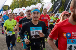 2016.09.25: IV Moscow Marathon. The start of the 42.2 km. IV Moscow Marathon. The start of the 42.2 km With the support of the Moscow Government and the Royalty Free Stock Images