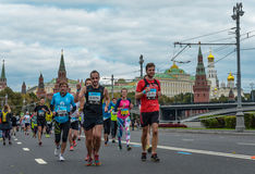 2016.09.25: IV Moscow Marathon.36-th km marathon distance. Royalty Free Stock Images