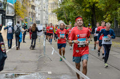 2016 09 25: IV Moskau-Marathon 24. Kilometer des Marathonweges Lizenzfreies Stockbild