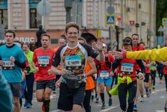 2016 09 25: IV Moskau-Marathon 24. Kilometer des Marathonweges Stockfotografie