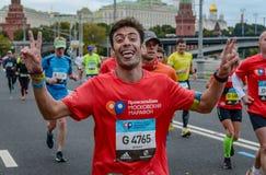 2016 09 25: IV Moskau-Marathon 36. Kilometer-Marathonabstand Lizenzfreies Stockfoto