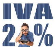 Iva italian tax with shocked boy. On white background royalty free stock photos
