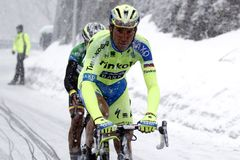 Ivan Basso rise in Terminilo Stock Images
