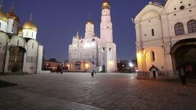 Ivan det stora Klocka-torn komplexet på natten Domkyrkafyrkant, inom av MoskvaKreml, Ryssland Lokal för Unesco-världsarv arkivfilmer