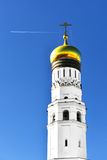Ivan Great Bell Tower against blue sky with airplane Royalty Free Stock Images