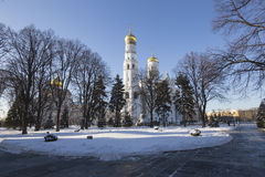 Ivan the Great Bell-Tower complex. Cathedral Square, Inside of Moscow Kremlin, Russia Royalty Free Stock Photo