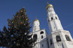 Ivan the Great Bell-Tower complex with New Year Christmas  tree. Cathedral Square, Inside of Moscow Kremlin, Russia. Stock Images