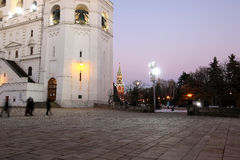 Ivan the Great Bell-Tower complex at night. Cathedral Square, Inside of Moscow Kremlin, Russia Royalty Free Stock Photos