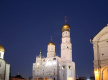 Ivan the Great Bell-Tower complex at night. Cathedral Square, Inside of Moscow Kremlin, Russia Royalty Free Stock Photography