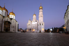 Ivan the Great Bell-Tower complex at night. Cathedral Square, Inside of Moscow Kremlin, Russia Stock Image