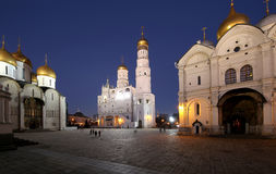 Ivan the Great Bell-Tower complex at night. Cathedral Square, Inside of Moscow Kremlin, Russia Royalty Free Stock Photo