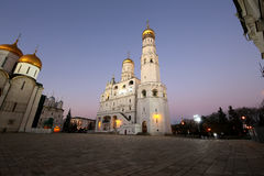 Ivan the Great Bell-Tower complex at night. Cathedral Square, Inside of Moscow Kremlin, Russia Royalty Free Stock Images