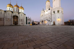Ivan the Great Bell-Tower complex at night. Cathedral Square, Inside of Moscow Kremlin, Russia Stock Images