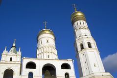Ivan Great bell tower of Moscow Kremlin. Color winter photo. Stock Photos